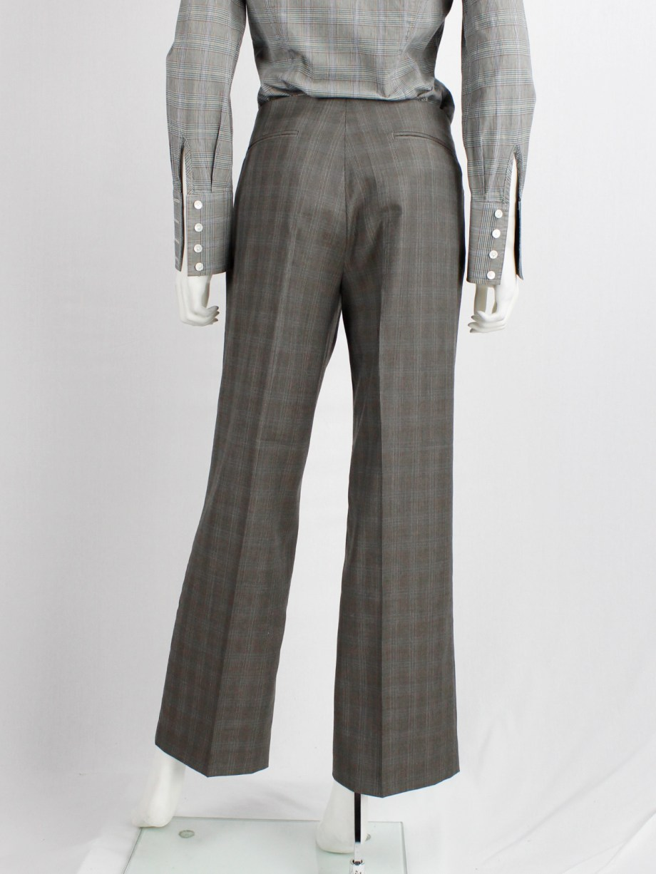Maison Martin Margiela brown tartan trousers with side belt detail — fall 2004