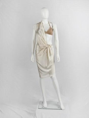 A.F. Vandevorst pearl draped one-bust dress with white burlap shoulder panel — spring 2011