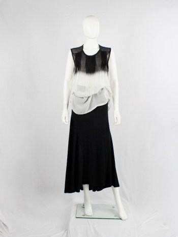 Ann Demeulemeester black and white ombre sheer top with pleated lines — fall 2013