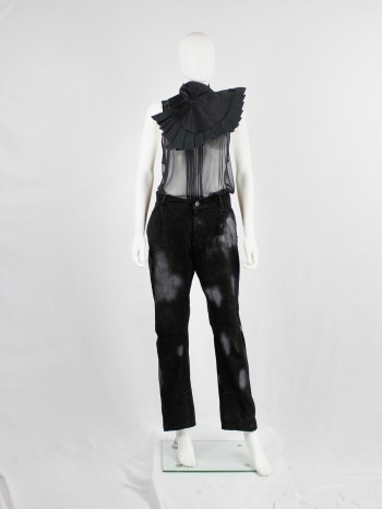 Ann Demeulemeester black suede trousers with light blue spraypainted pattern