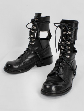 Dirk Bikkembergs black combat boots with hooks and laces through the sole — 1990's