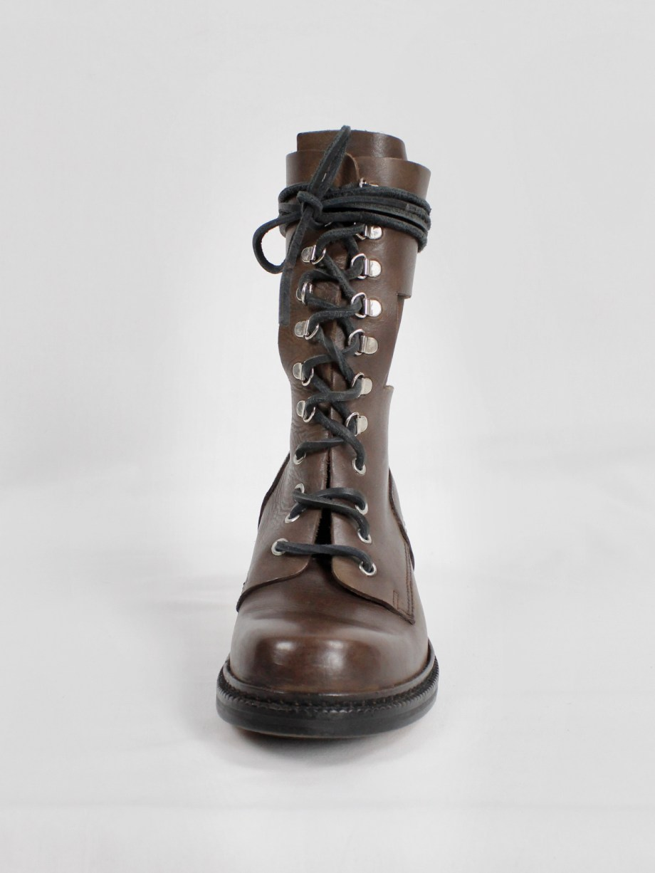 Dirk Bikkembergs brown combat boots with hooks and metal heel (38) — 1990's
