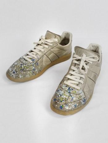 Maison Martin Margiela dark beige sneakers with paint splatters (41) — fall 2016