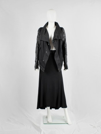 Rick Owens DRKSHDW denim exploder jacket with leather sleeves — pre 2010