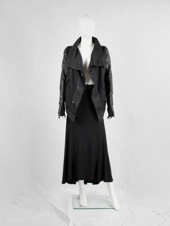 Rick Owens DRKSHDW denim exploder jacket with leather sleeves — pre 2010