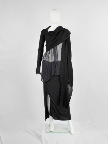 Rick Owens MOOG black cardigan with long front panels and patterned knit — fall 2005