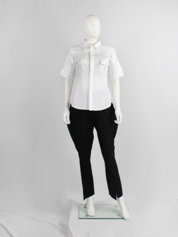 A.F. Vandevorst white pocket shirt with upwards folded sleeves — spring 1999