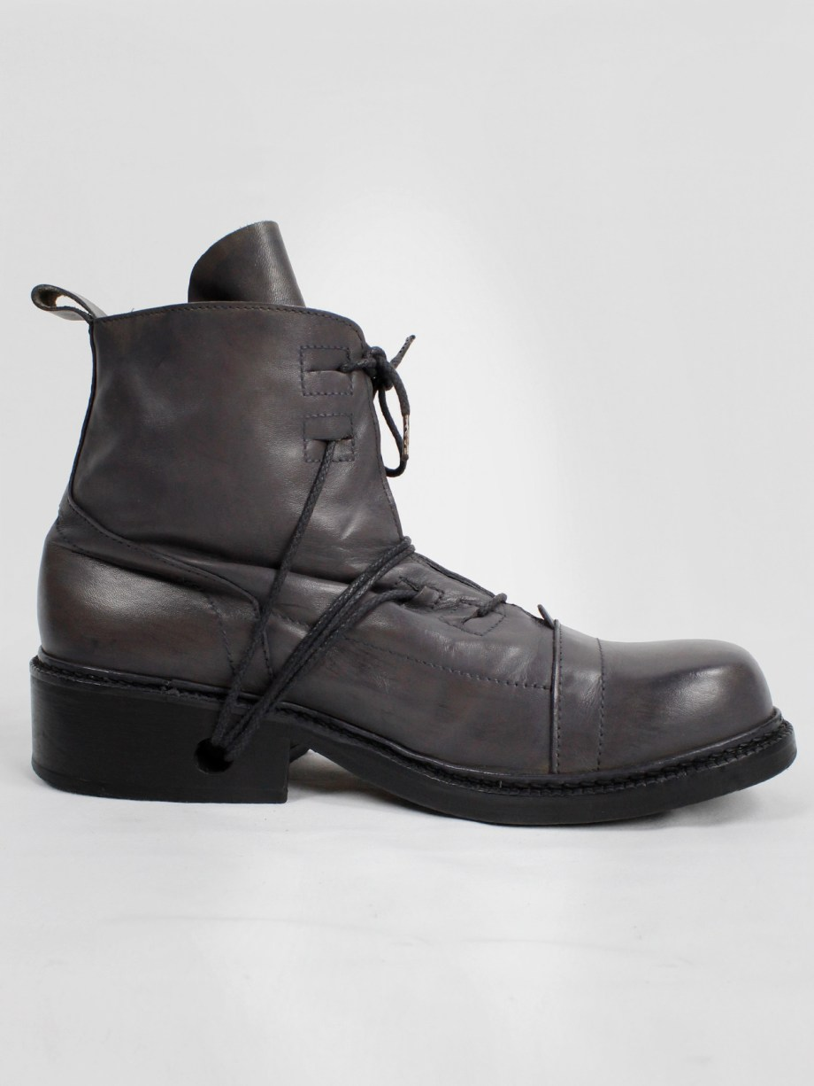 Dirk Bikkembergs grey tall boots with laces through the soles (44) — mid 90's