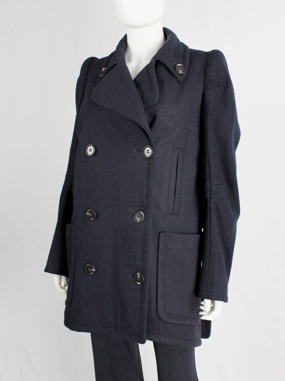 vintage Maison Martin Margiela navy oversized caban with cigarette shoulders fall 1990 (10)