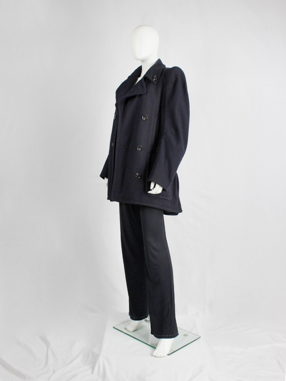vintage Maison Martin Margiela navy oversized caban with cigarette shoulders fall 1990 (12)
