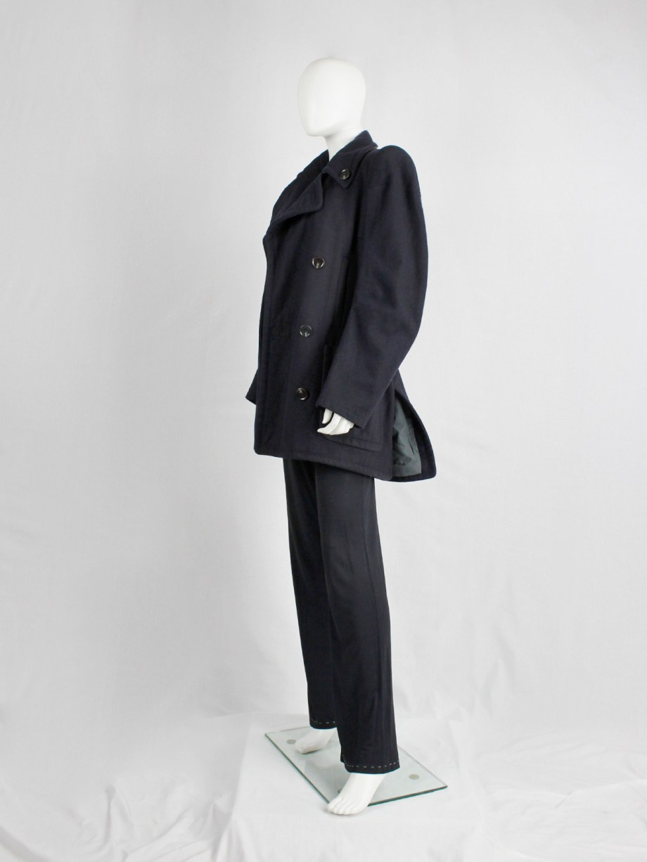 vintage Maison Martin Margiela navy oversized caban with cigarette shoulders fall 1990 (13)