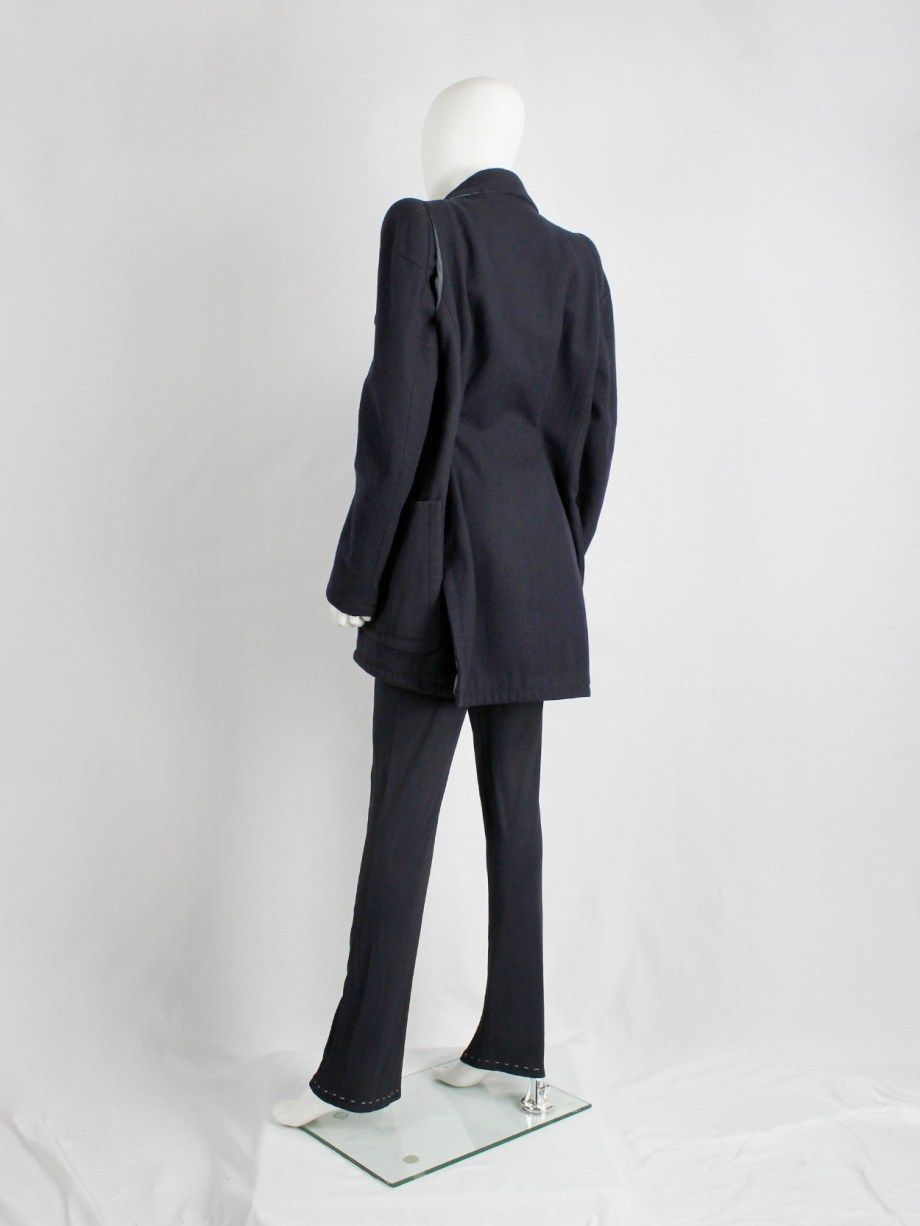 vintage Maison Martin Margiela navy oversized caban with cigarette shoulders fall 1990 (15)