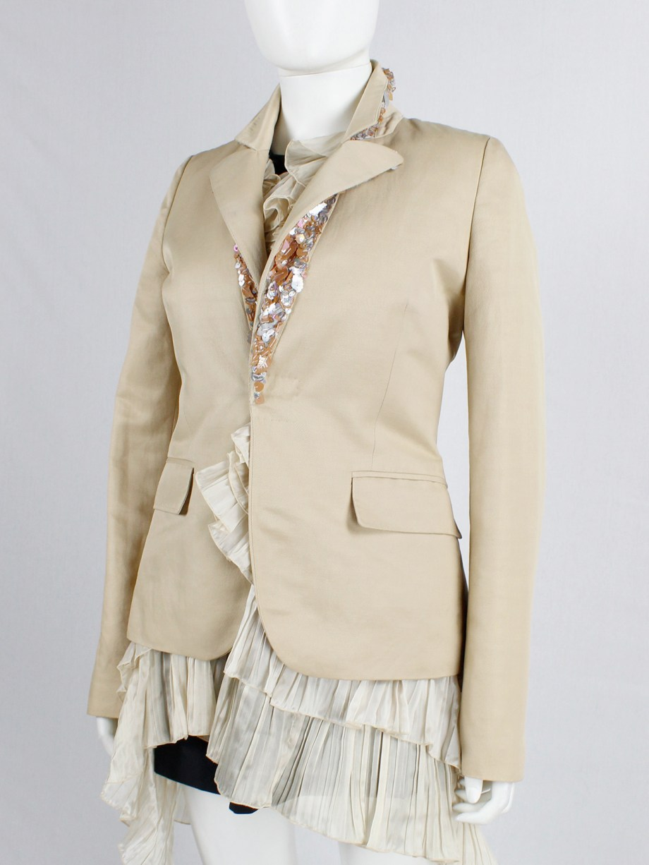 A.F. Vandevorst light salmon blazer with sequins underneath the collar — spring 2000