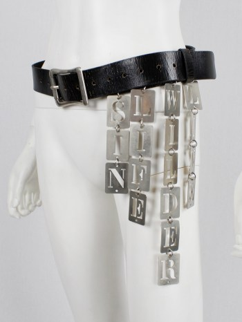 Ann Demeulemeester black leather belt with SIN, LIFE, WILDER and LIVE dogtags — spring 2003