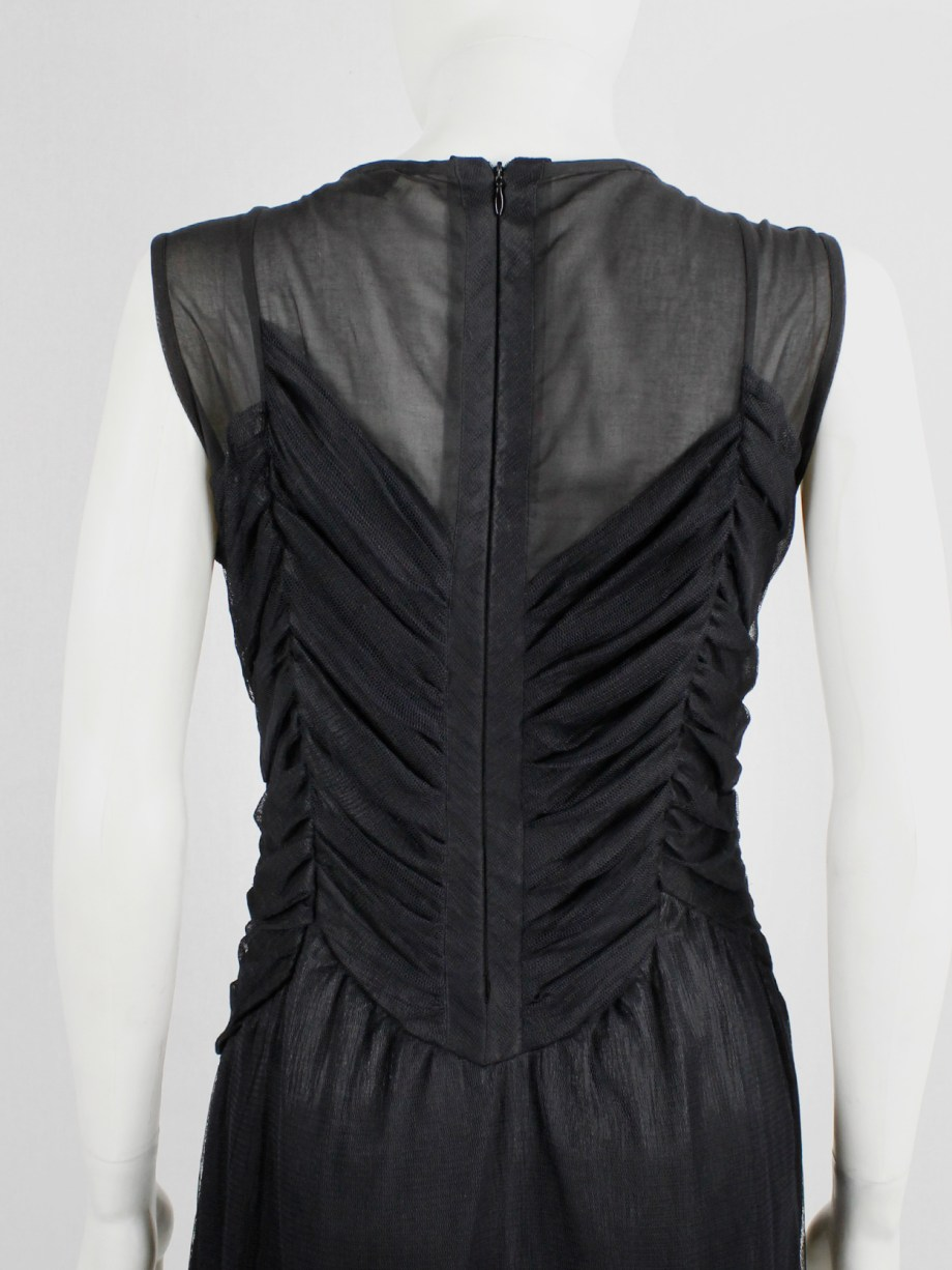 Jurgi Persoons black dress with sheer overlay and pleated mesh bodice — fall 2001