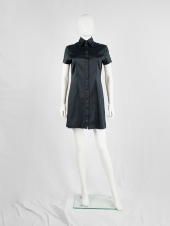 Lieve Van Gorp black short tailored shirtdress with high collar — 1990's