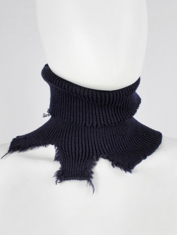 Maison Martin Margiela dark navy destroyed turtleneck collar — fall 2000
