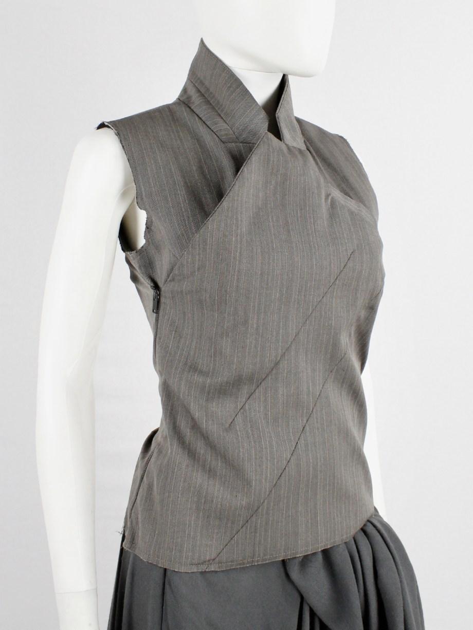 A.F. Vandevorst brown pinstripe vest designed after a deconstructed men's blazer — fall 2016