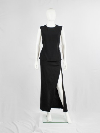 Ann Demeulemeester black maxi skirt with diagonal zipper and adjustable slit — fall 2012