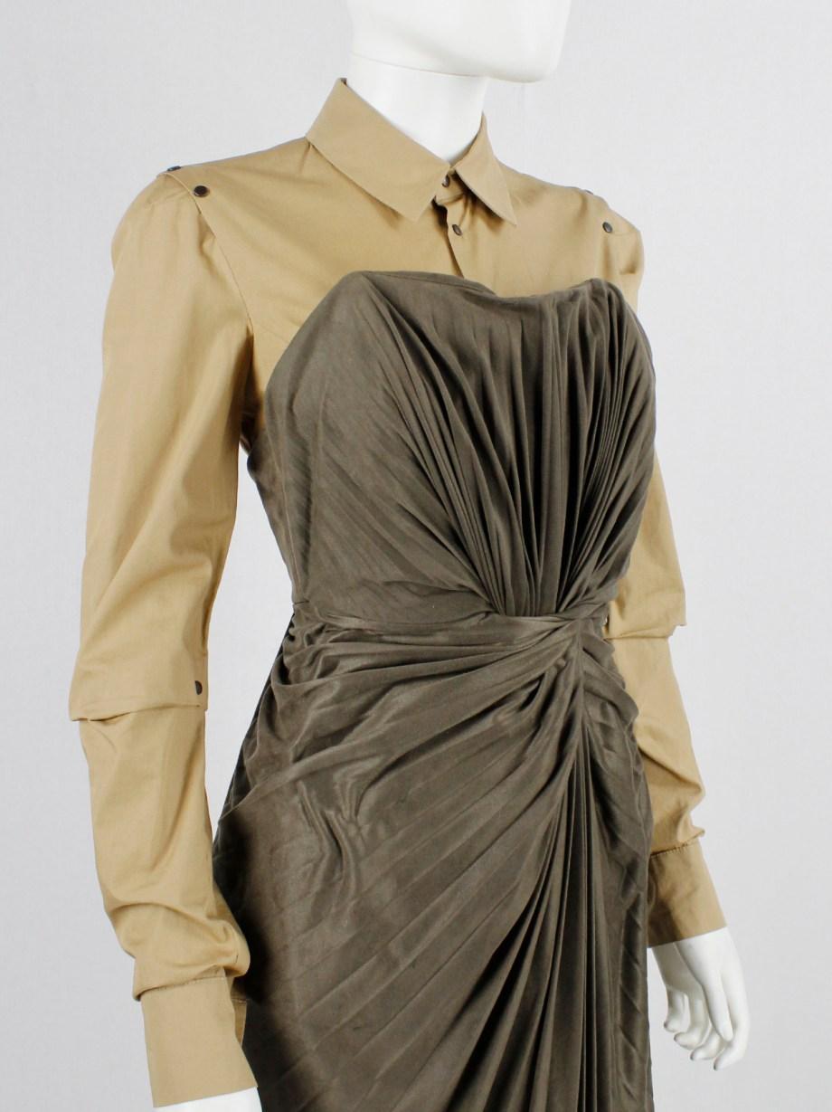 A.F. Vandevorst khaki green dress with twisted accordeon pleats — fall 2011