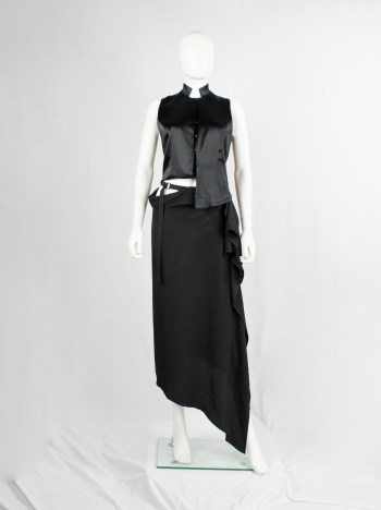 Ann Demeulemeester black asymmetric draped skirt with belted waist — spring 2004