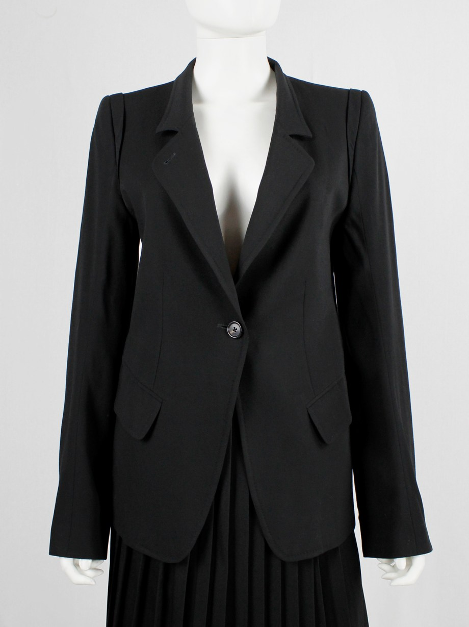 Ann Demeulemeester black classic blazer with single button closure (8)