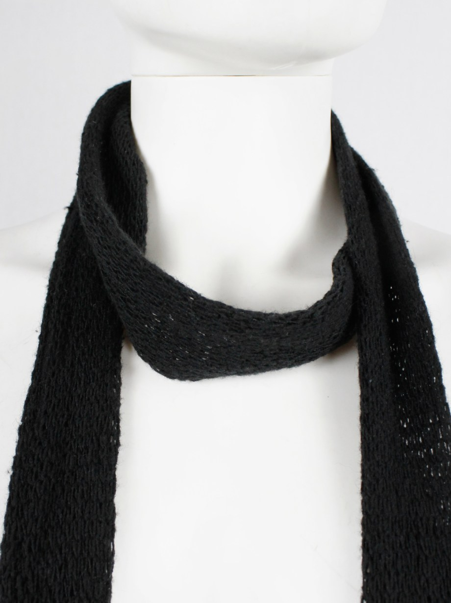 Ann Demeulemeester black long knit scarf with leather tassels