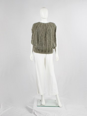 BLESS n°48 brown heavy knitted top with interwoven reflective threads — 2013