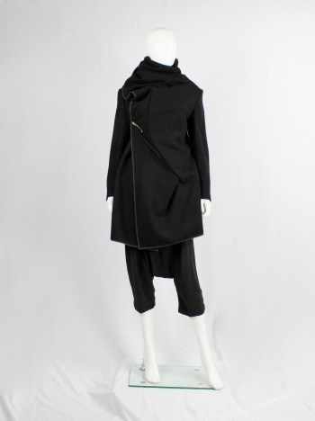 Comme des Garçons black wrapped shawl coat with cowl neck collar