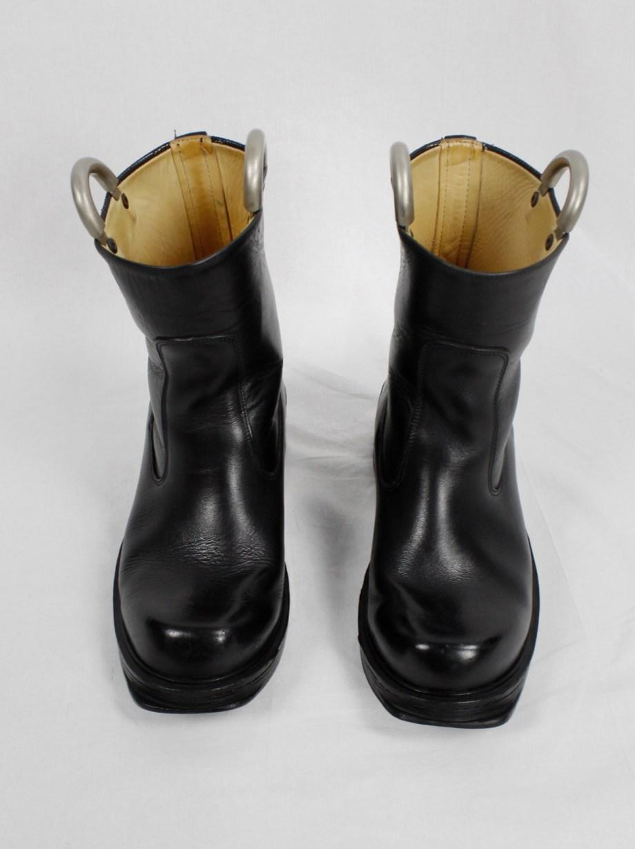 Dirk Bikkembergs black tall boots with metal slit heel and metal pulls (40) — mid 90's