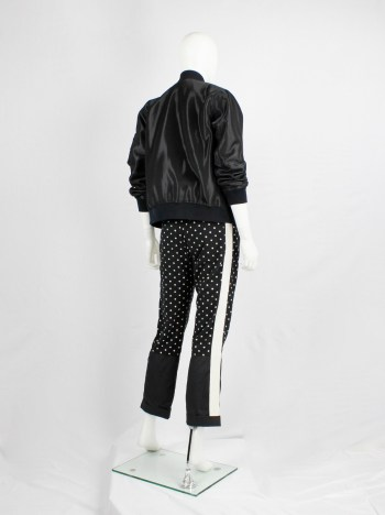 Haider Ackermann black panelled trousers with polkadots and white stripe — fall 2015