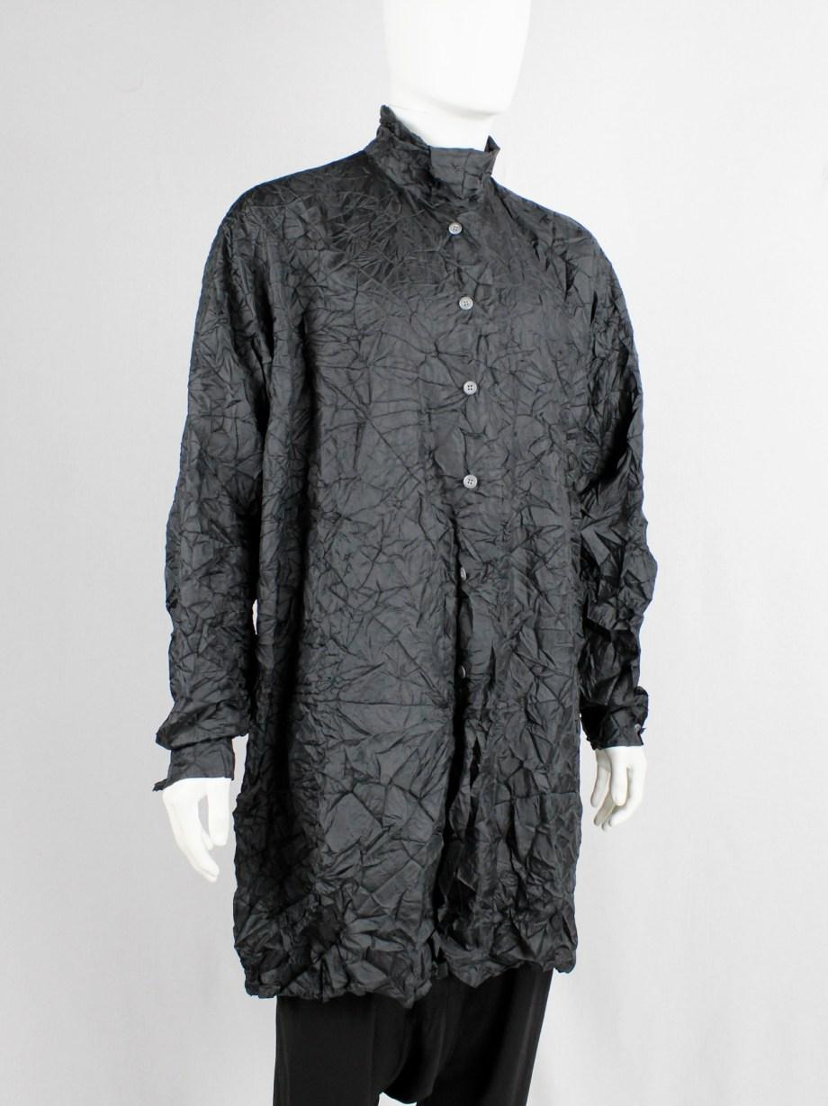 Issey Miyake black oversized shirt in permanently wrinkled fabric