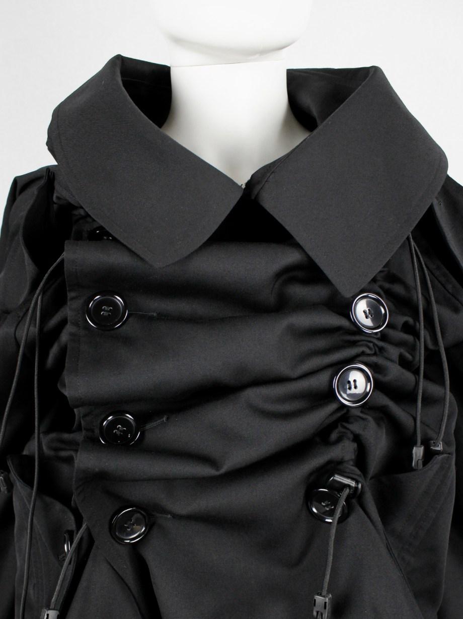 Junya Watanabe black scrunched drawstring jacket with oversized collar — fall 2005