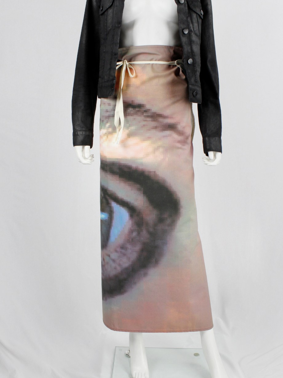 Maison Martin Margiela 6 maxi wrap skirt with a pixelated print of an eye 2003 (3)