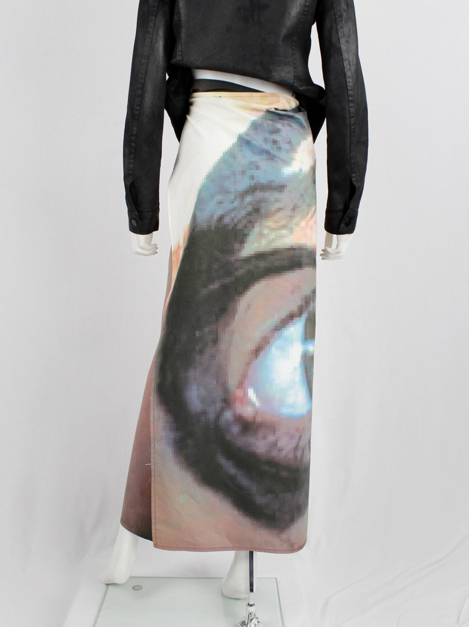 Maison Martin Margiela 6 maxi wrap skirt with a pixelated print of an eye 2003 (8)