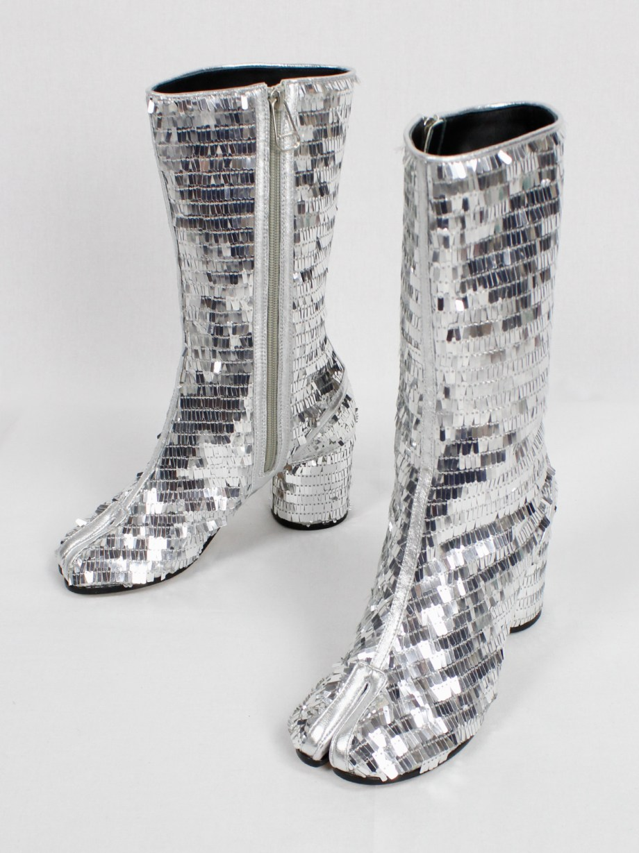 Maison Martin Margiela disco tabi boots covered in silver sequins (37)