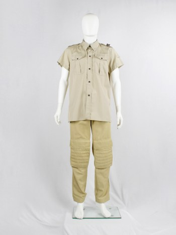 Walter Van Beirendonck W&LT beige safari shirt with brown bear toy and print — 1998