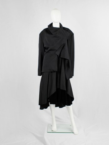 Yohji Yamamoto black asymmetric jacket with double folded draped front panels — 1980's