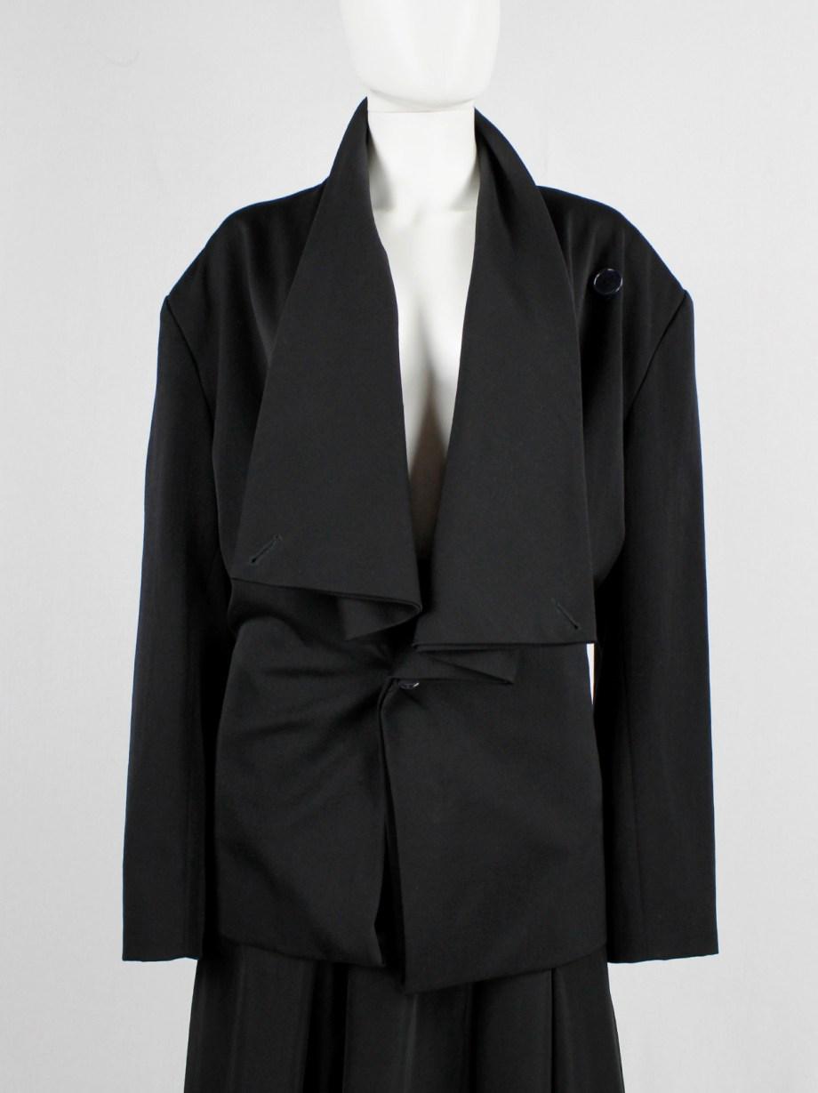 Yohji Yamamoto black asymmetric jacket with double folded draped front panels — 1980's