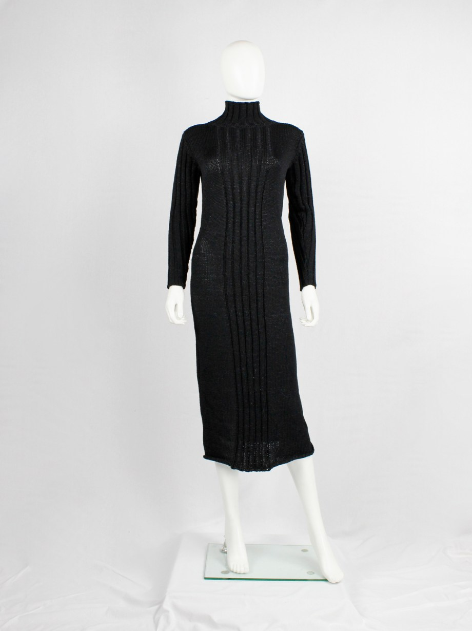 Y's Yohji Yamamoto black knit dress with ribbed front and turtleneck