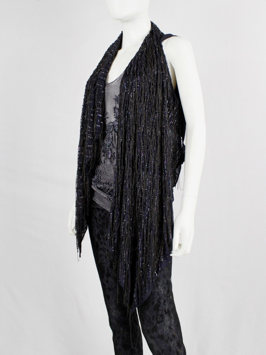 A.F. Vandevorst dark purple draped waistcoat with sequins and metal chains — spring 2014