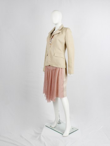 A.F. Vandevorst pink printed skirt with beige back and camel leather belt — spring 2005