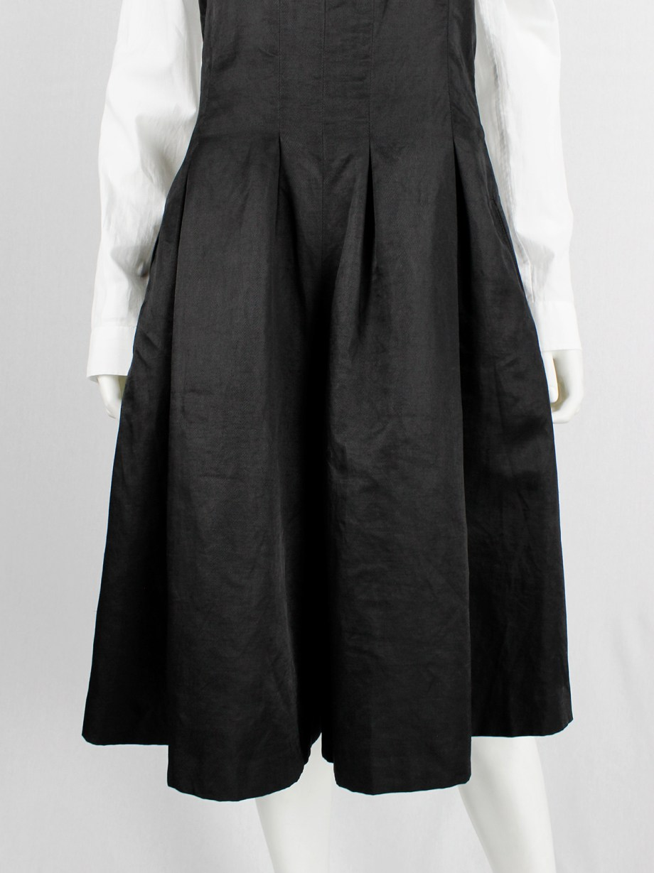 A.F. Vandevorst black wide trousers made into a strapless dungaree — fall 2007