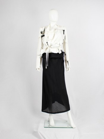 Ann Demeulemeester black maxi skirt with curved back and folded waist
