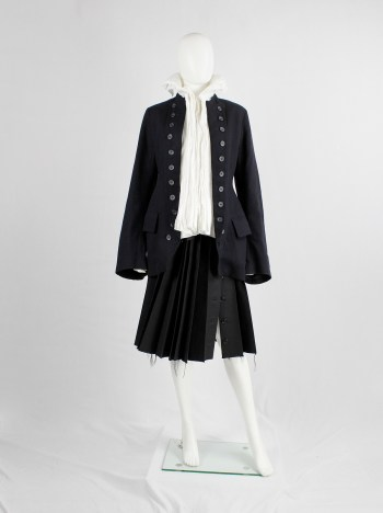 Dries Van Noten dark navy Napoleonic coat with large buttoned lapels — 1980's