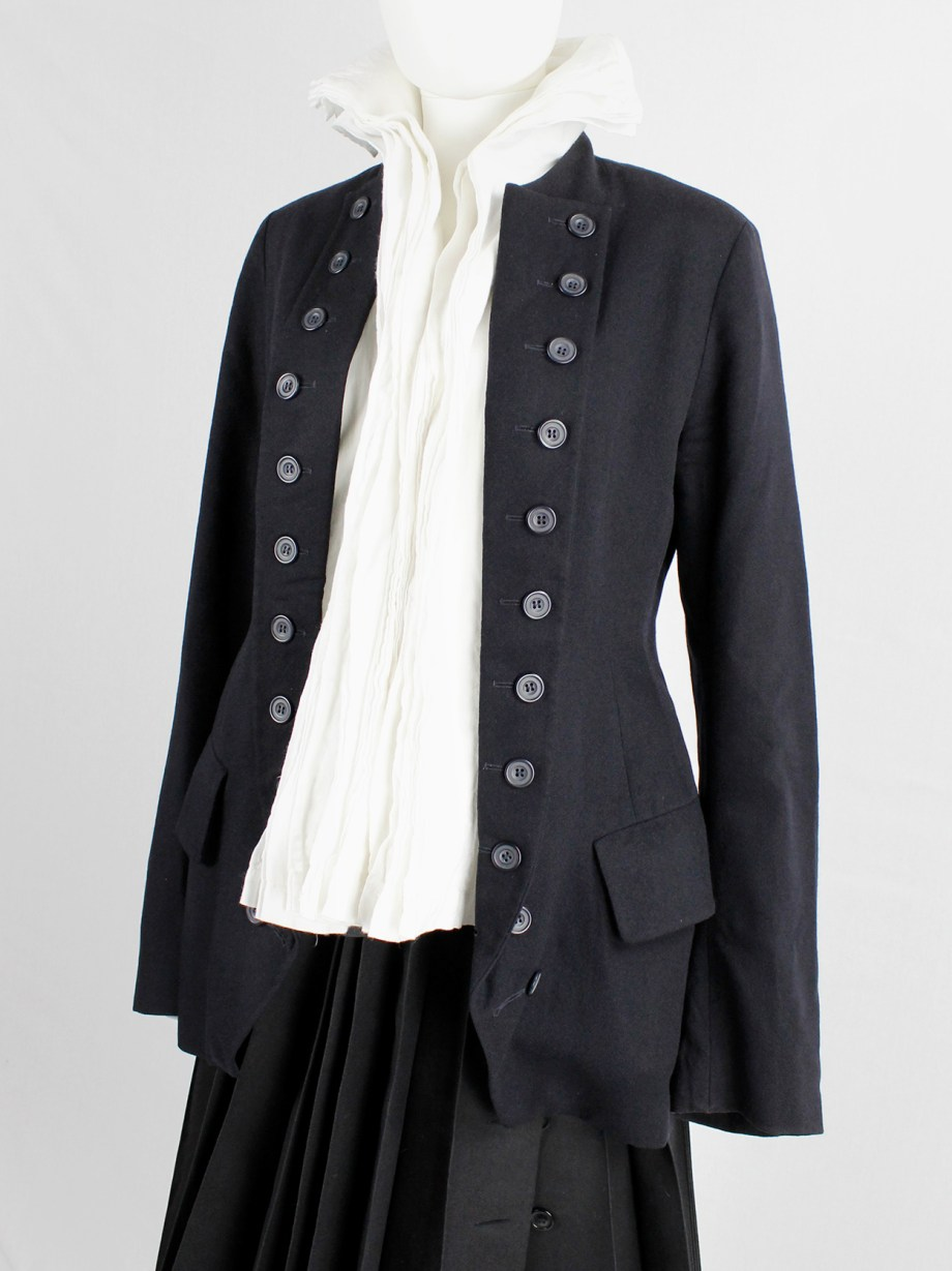 Dries Van Noten dark navy Napoleonic coat with large buttoned lapels — 1980's