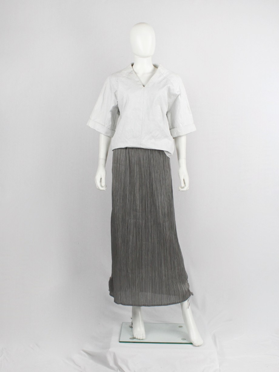 Issey Miyake Pleats Please grey maxi skirt that is scrunched up by drawstrings