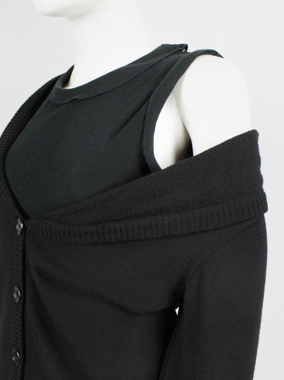 Maison Martin Margiela black stretched out cardigan falling off the shoulder — fall 2006