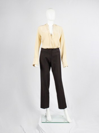 Maison Martin Margiela brown trousers with frayed cut off waist — 2002/2004