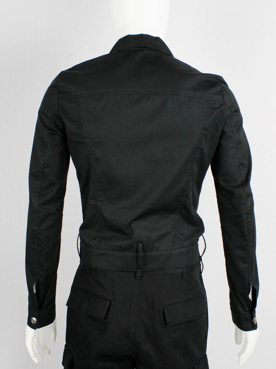 Xavier Delcour black denim jacket with trousers' waistband — 2000/2002